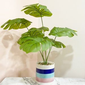 Faux Monstera Deliciosa Plant in Colorful …
